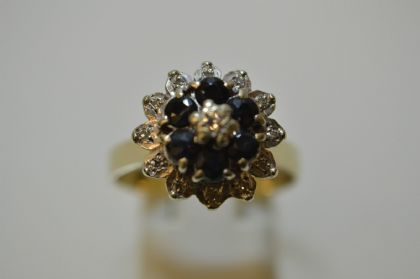 9ct Diamond and Sapphire Ring